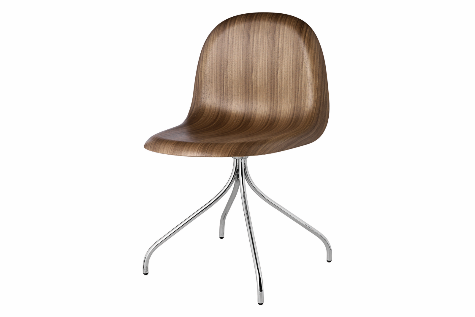 Gubi 3D Swivel Base Dining Chair - Unupholstered Gubi Wood American Walnut, Gubi Metal Chrome