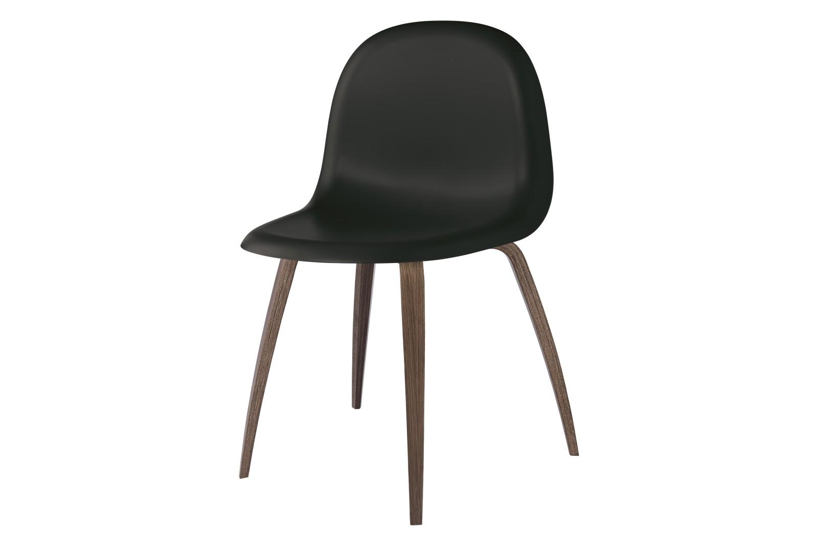 Gubi 3D Wood Base Dining Chair - Unupholstered Gubi HiRek Black, Gubi Wood American Walnut