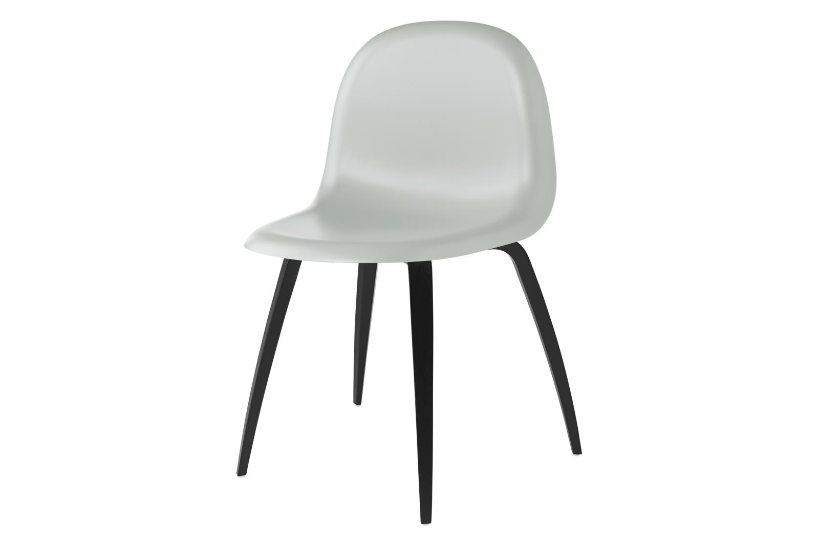 Gubi 3D Wood Base Dining Chair - Unupholstered Gubi HiRek Moon Grey, Gubi Wood Black Stained Beech