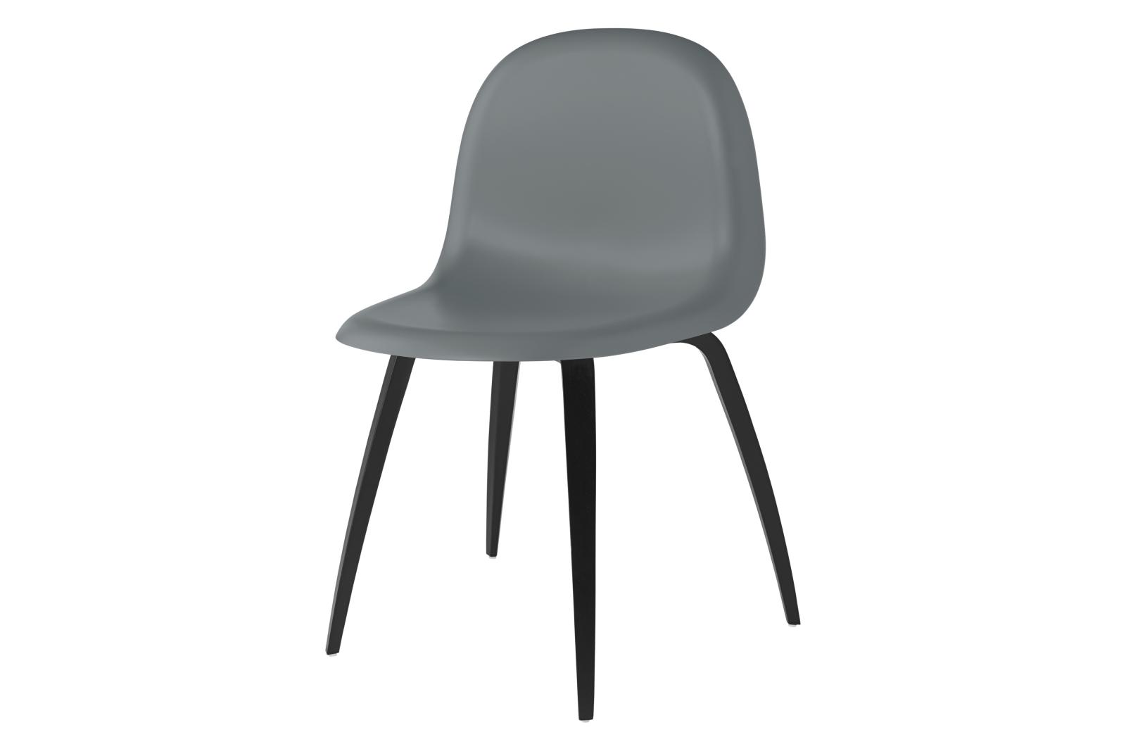 Gubi 3D Wood Base Dining Chair - Unupholstered Gubi HiRek Rainy Grey, Gubi Wood Black Stained Beech