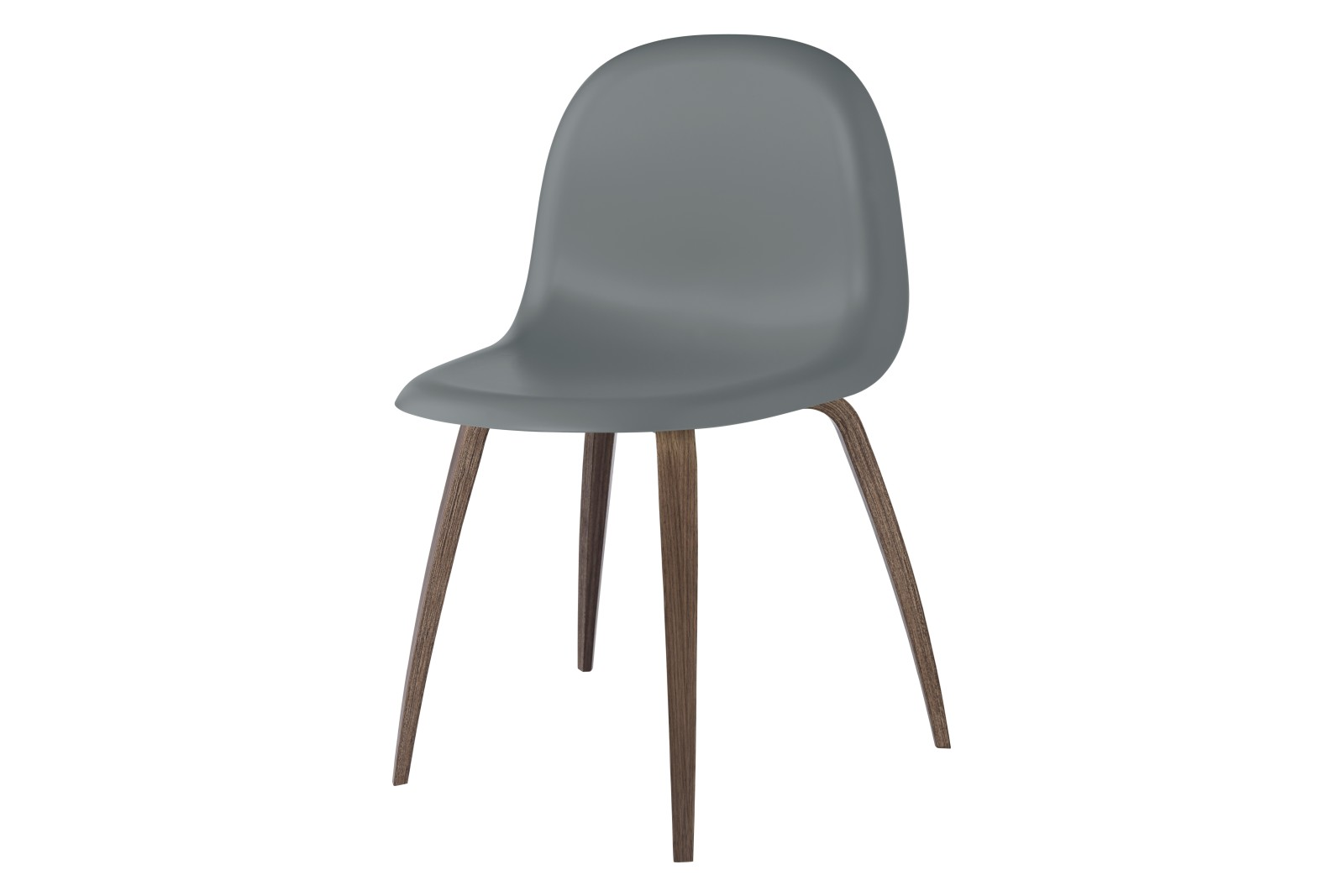 Gubi 3D Wood Base Dining Chair - Unupholstered Gubi HiRek Rainy Grey, Gubi Wood American Walnut