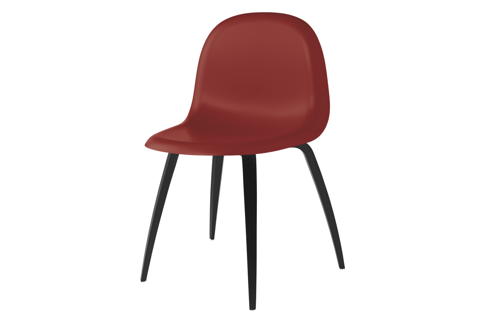 Gubi 3D Wood Base Dining Chair - Unupholstered Gubi HiRek Shy Cherry, Gubi Wood Black Stained Beech