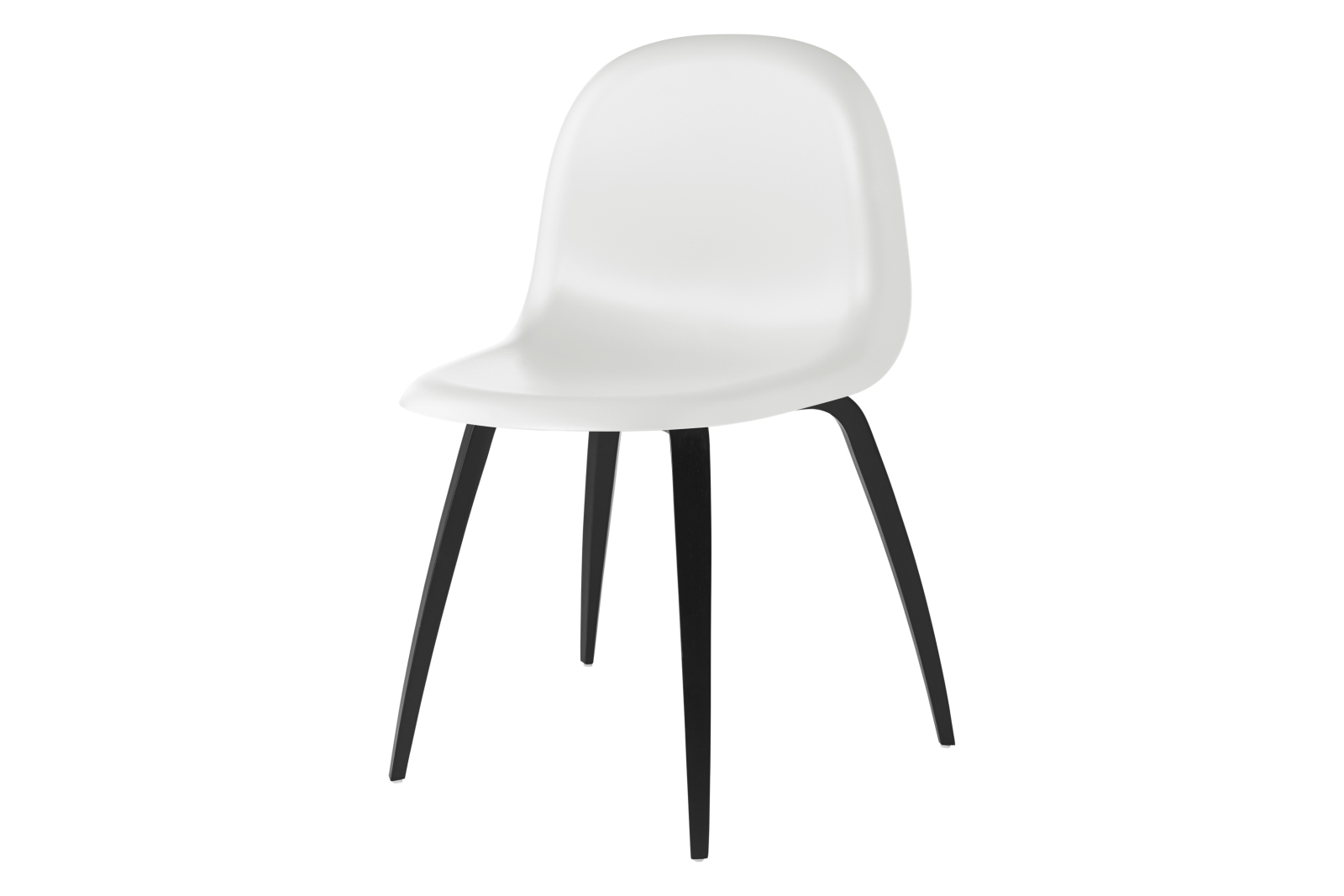 Gubi 3D Wood Base Dining Chair - Unupholstered Gubi HiRek White Cloud, Gubi Wood Black Stained Beech