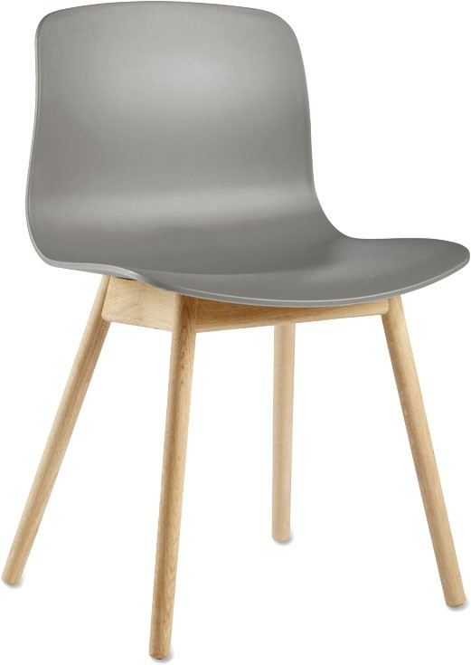 About A Chair AAC12 Grey Seat and Clear Lacquered Oak Base