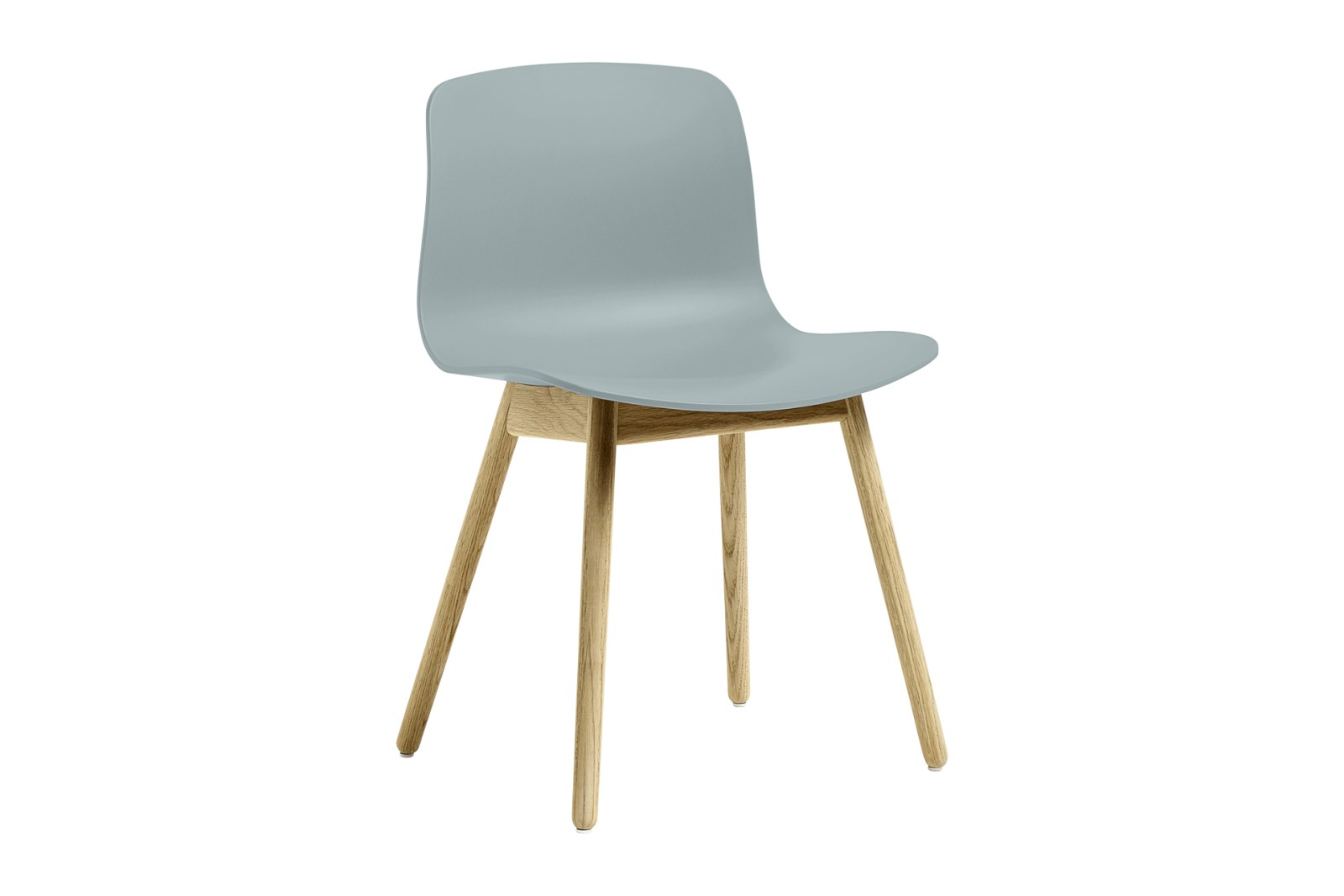 About A Chair AAC12 Dusty Blue Seat and Clear Lacquered Oak Base
