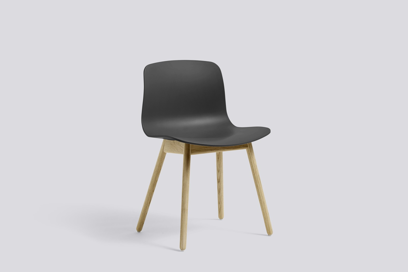 About A Chair AAC12 Soft Black Seat and Clear Lacquered Oak Base