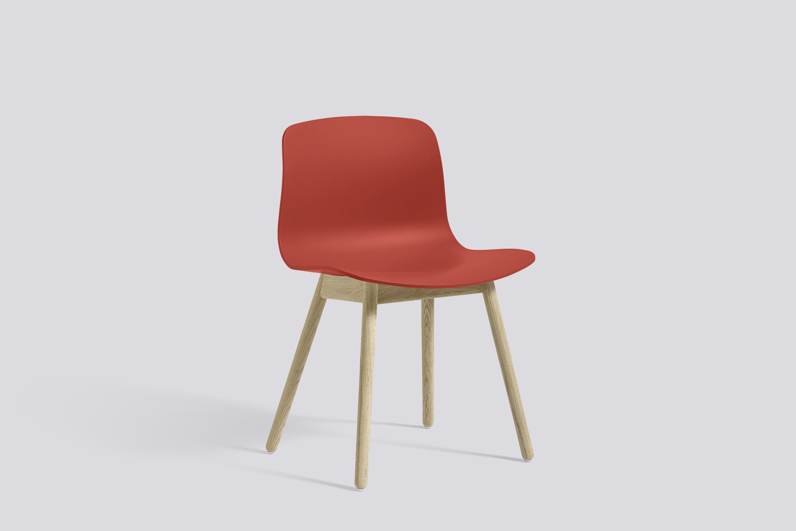About A Chair AAC12 Warm Red Seat and Soap Treated Oak Base