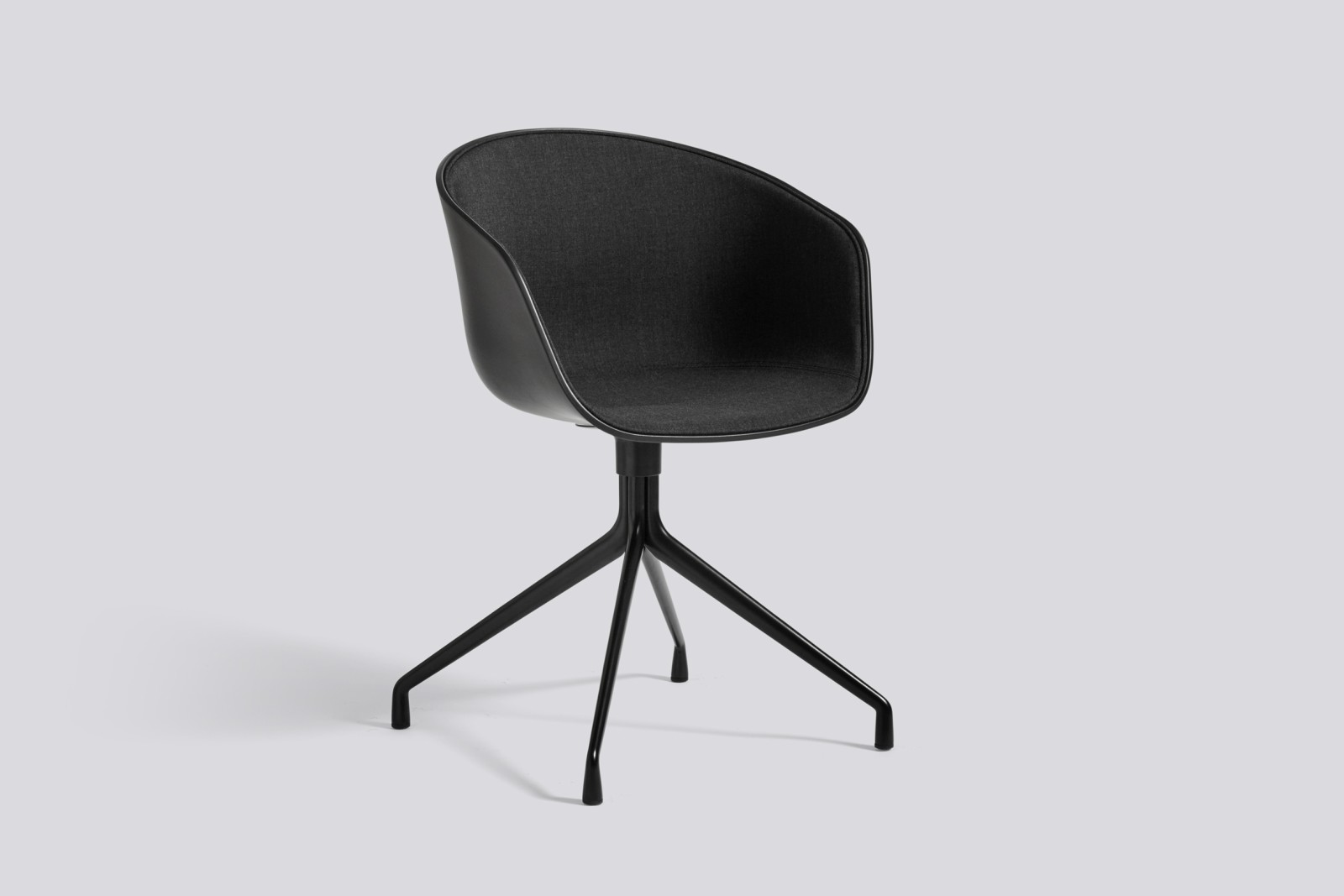 About A Chair AAC20 with front upholstery Surface by Hay 120, Black, White Powder Coated Steel