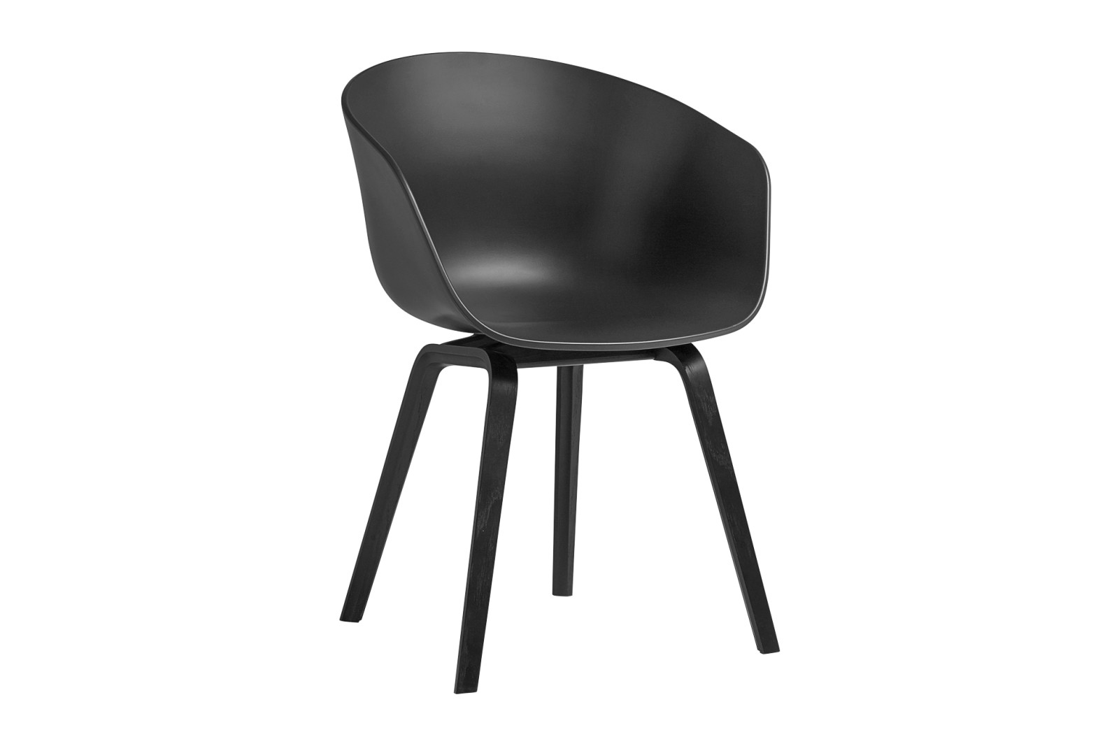 About A Chair AAC22 Soft Black Seat, Black Stained Oak Base