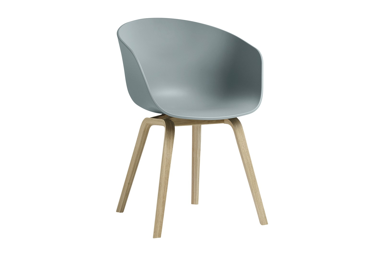 About A Chair AAC22 Dusty Blue Seat, Matt Lacquered Oak Base