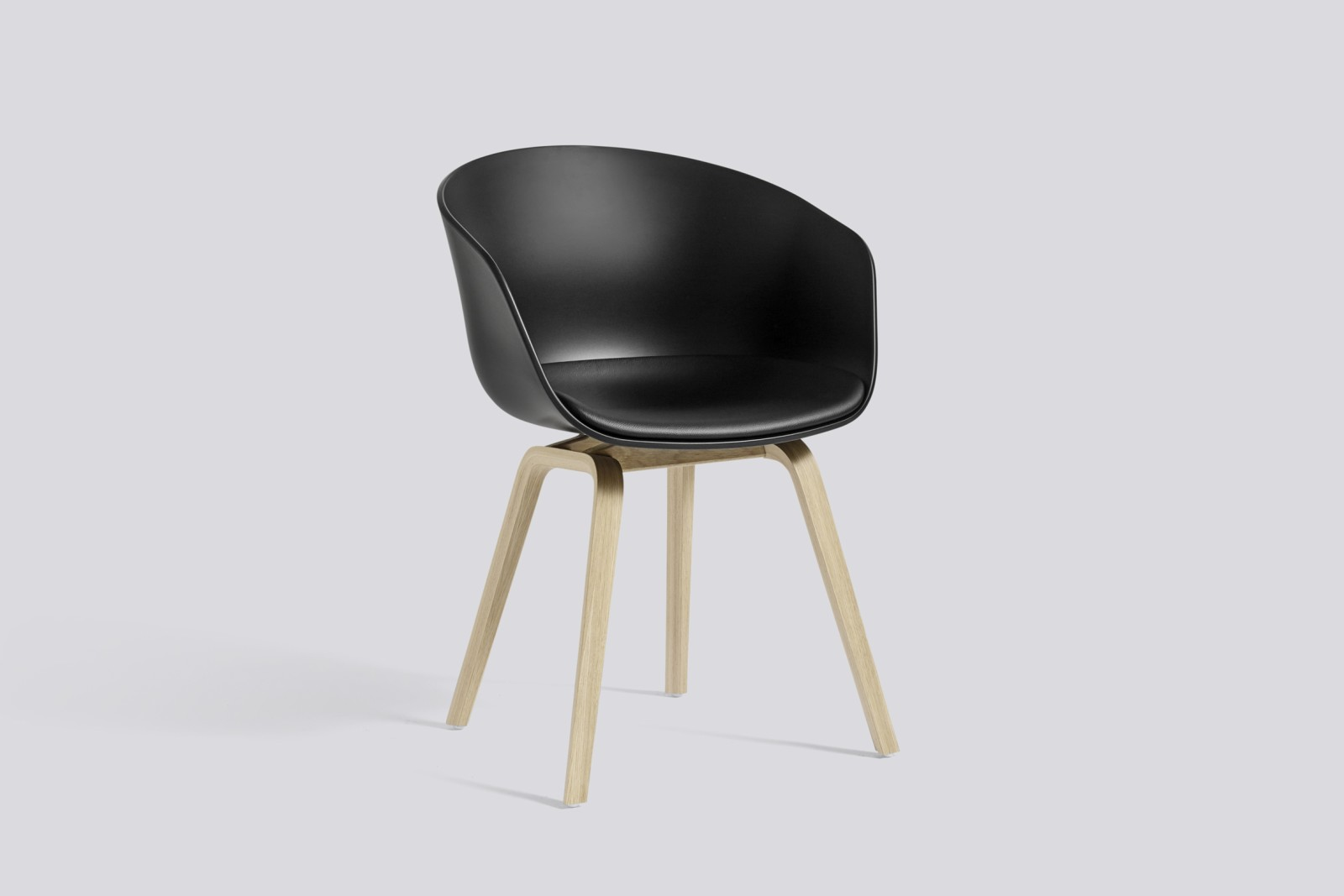 About A Chair AAC22 with fixed seat upholstery Surface by Hay 120, Black, Army Stained Oak Veneer