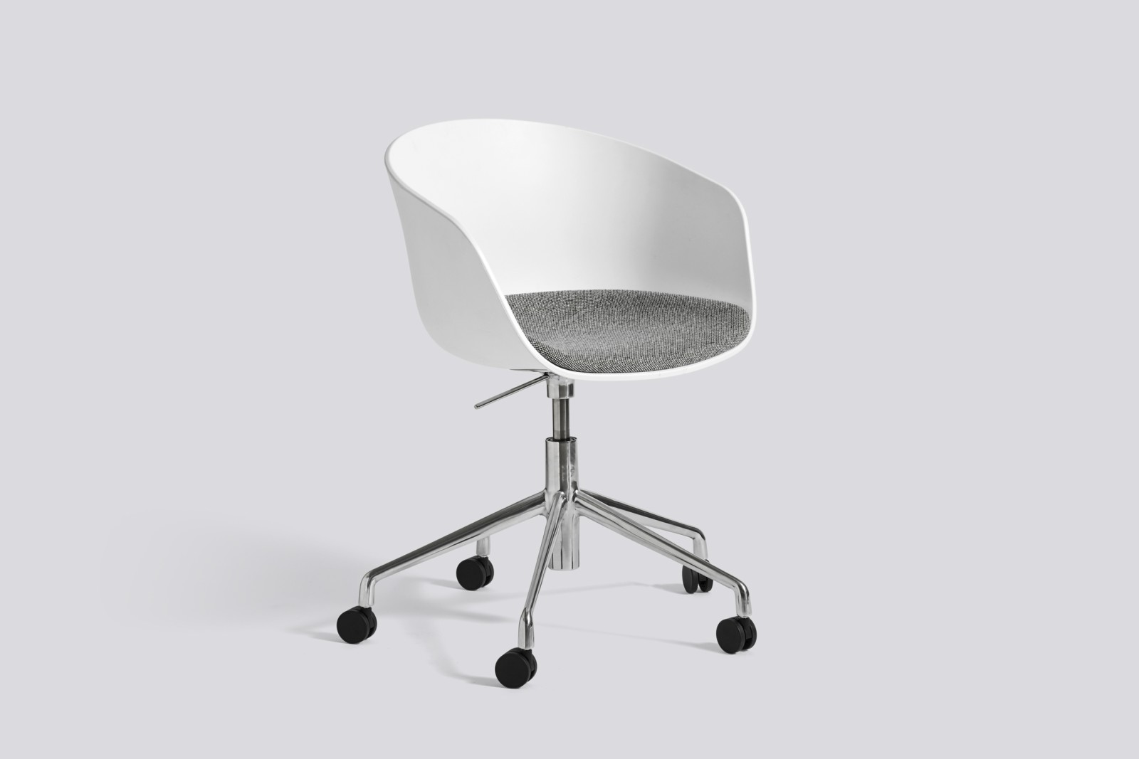 About A Chair AAC52 with fixed seat cushion Surface by Hay 120, Black, White Powder Coated Steel