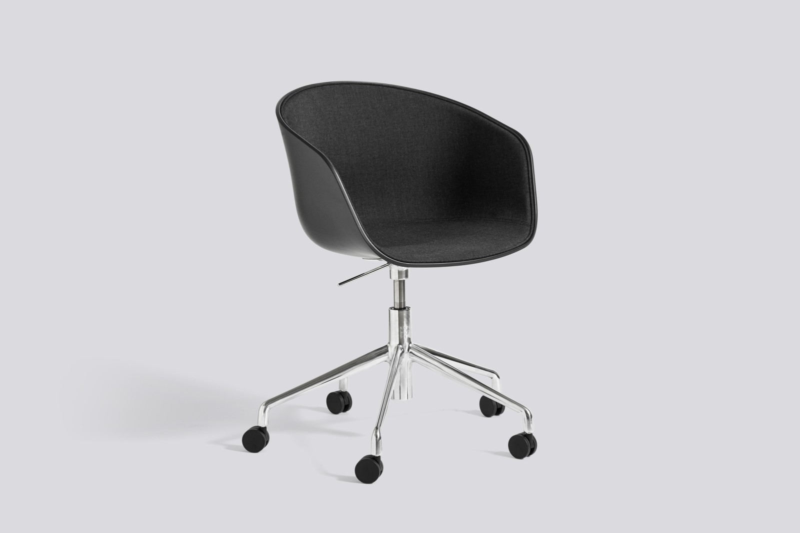About A Chair AAC52 with front upholstery Surface by Hay 120, Black, White Powder Coated Steel