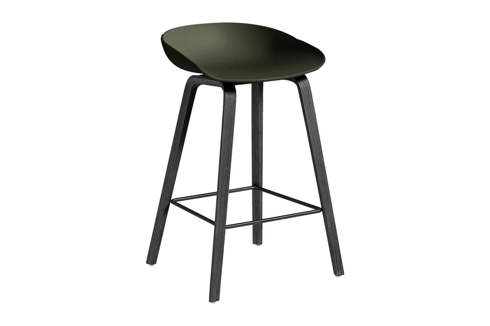 About A Stool AAS32 Black Stained Oak Base, Green Seat, Low, Black Powder Coated Steel
