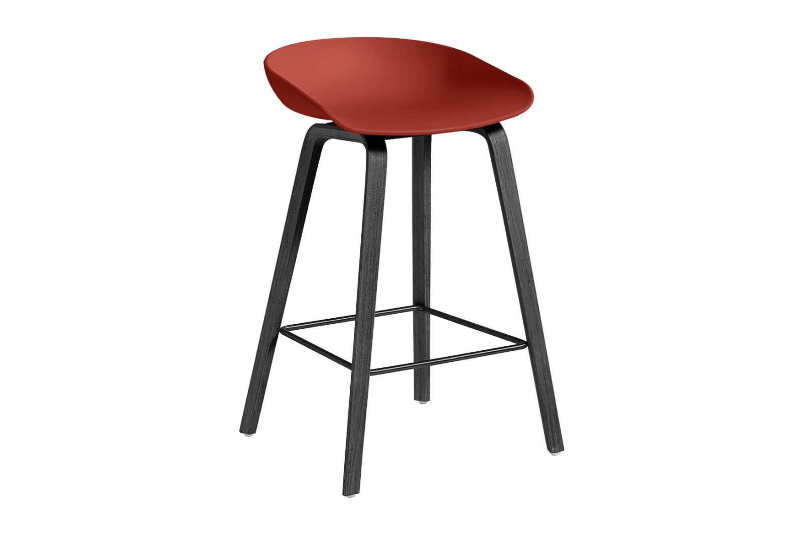 About A Stool AAS32 Black Stained Oak Base, Warm Red Seat, Low, Black Powder Coated Steel
