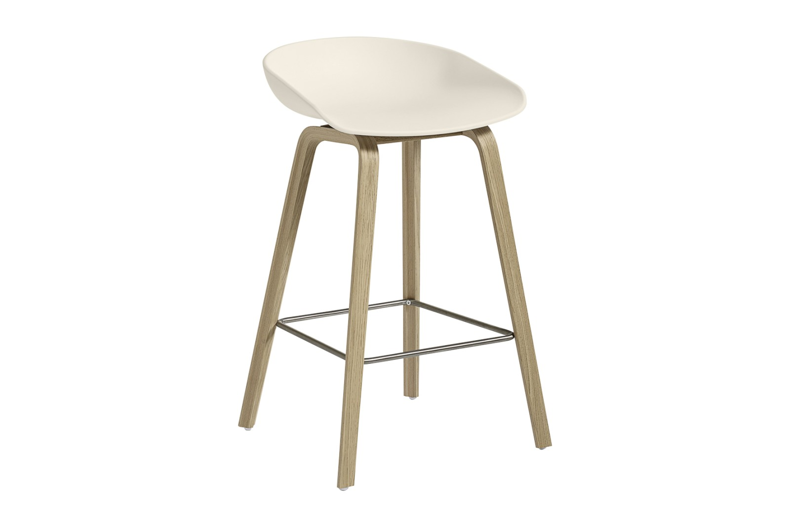 About A Stool AAS32 Matt Lacquered Oak Base, Cream White Seat, Low, Stainless Steel
