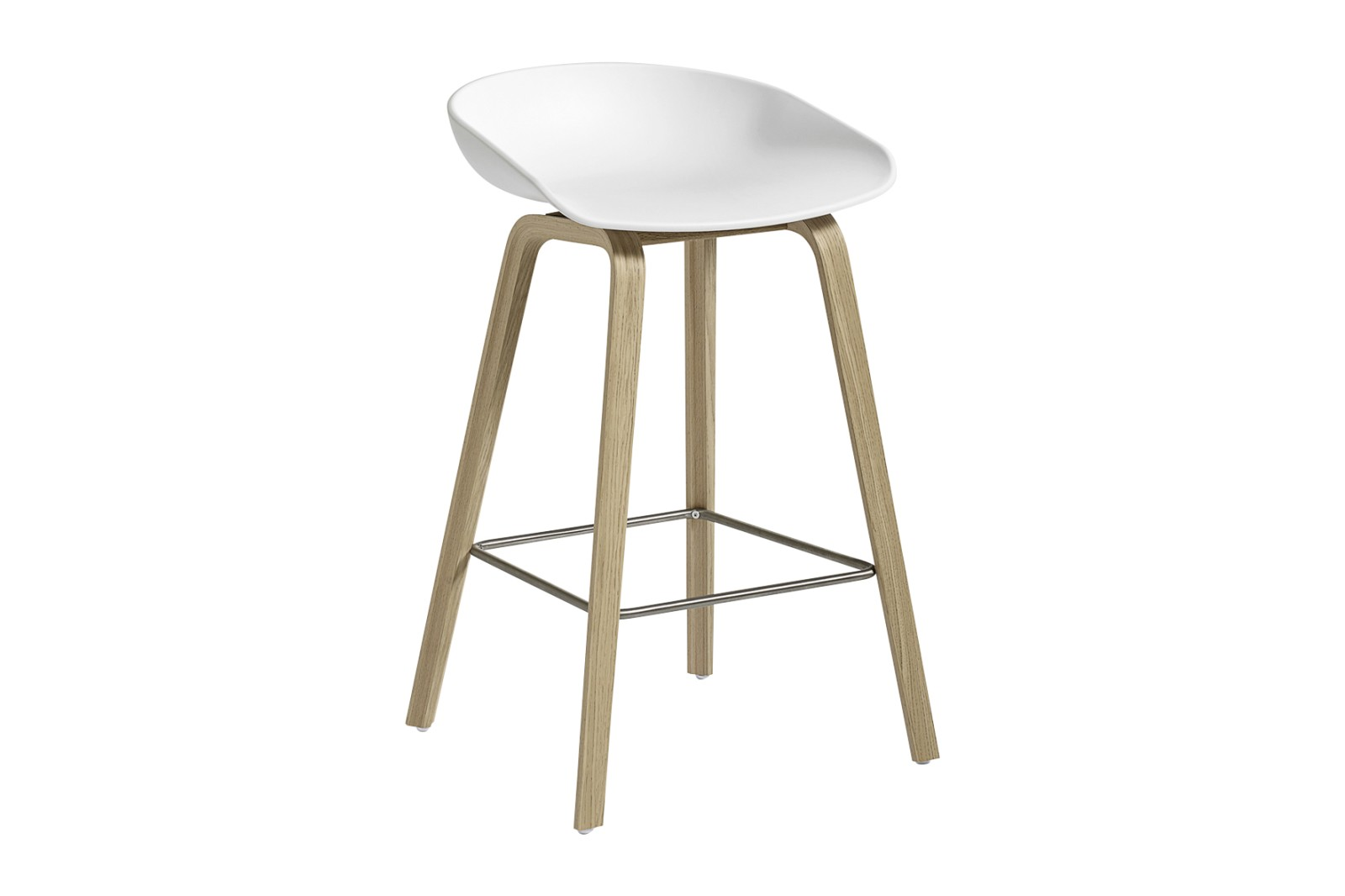 About A Stool AAS32 Matt Lacquered Oak Base, White Seat, Low, Stainless Steel