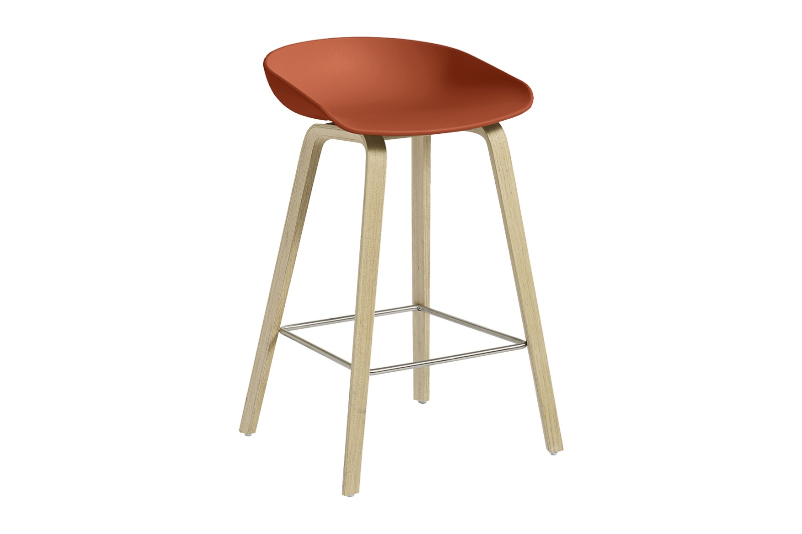 About A Stool AAS32 Soap Treated Oak Base, Orange Seat, Low, Stainless Steel