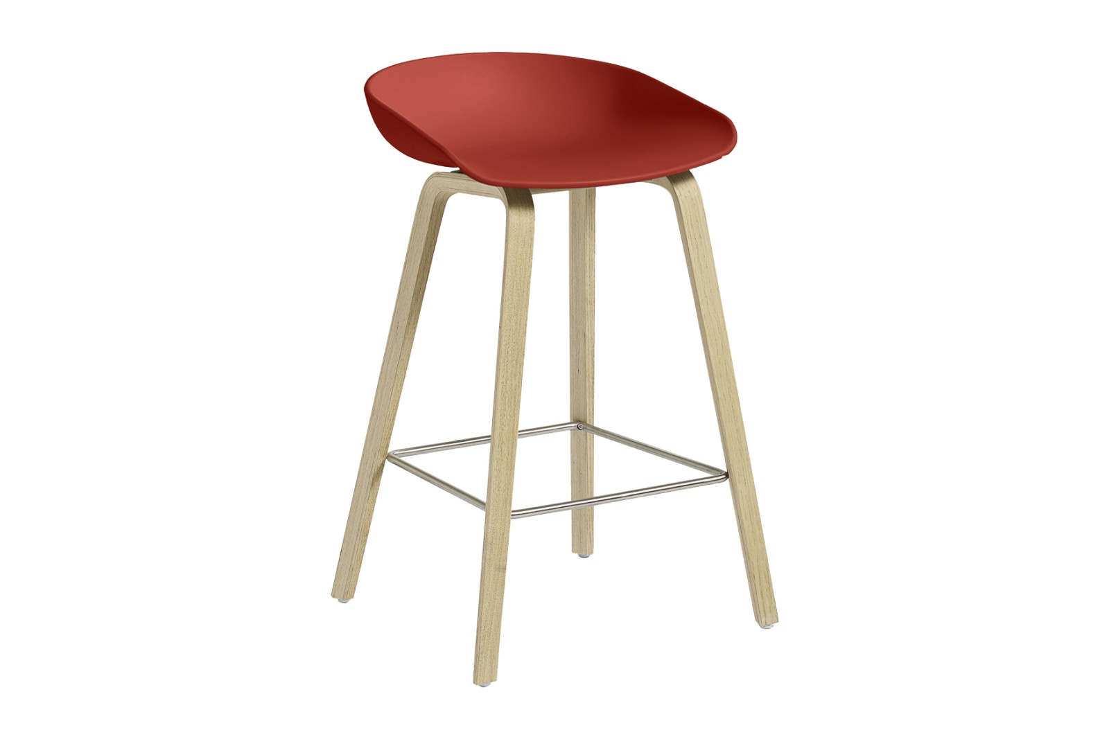 About A Stool AAS32 Soap Treated Oak Base, Warm Red Seat, Low, Stainless Steel