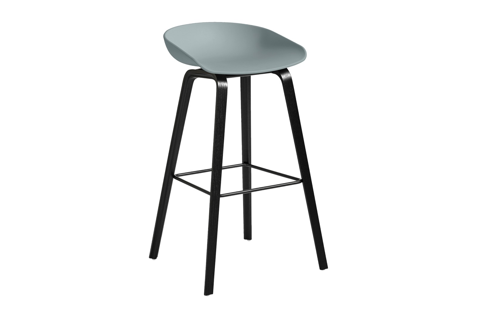 About A Stool AAS32 Black Stained Oak Base, Dusty Blue Seat, High, Black Powder Coated Steel