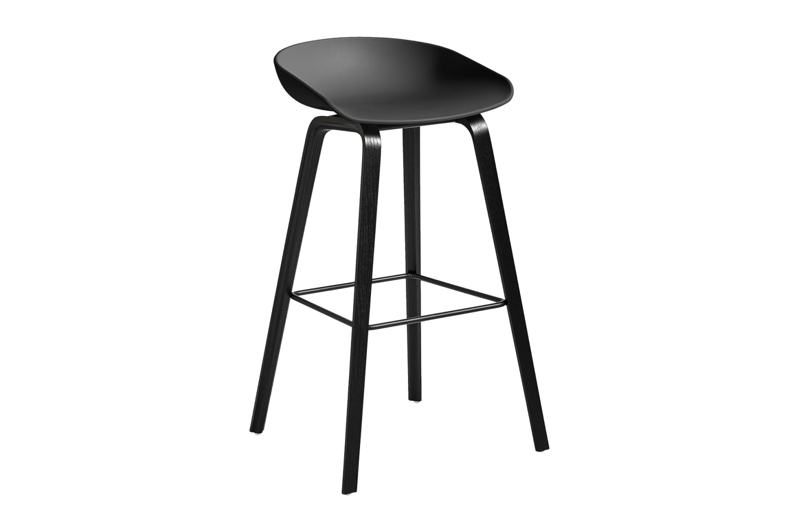 About A Stool AAS32 Black Stained Oak Base, Soft Black Seat, High, Black Powder Coated Steel