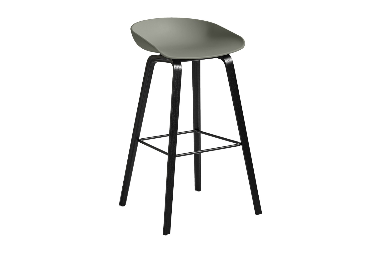 About A Stool AAS32 Black Stained Oak Base, Dusty Green Seat, High, Black Powder Coated Steel