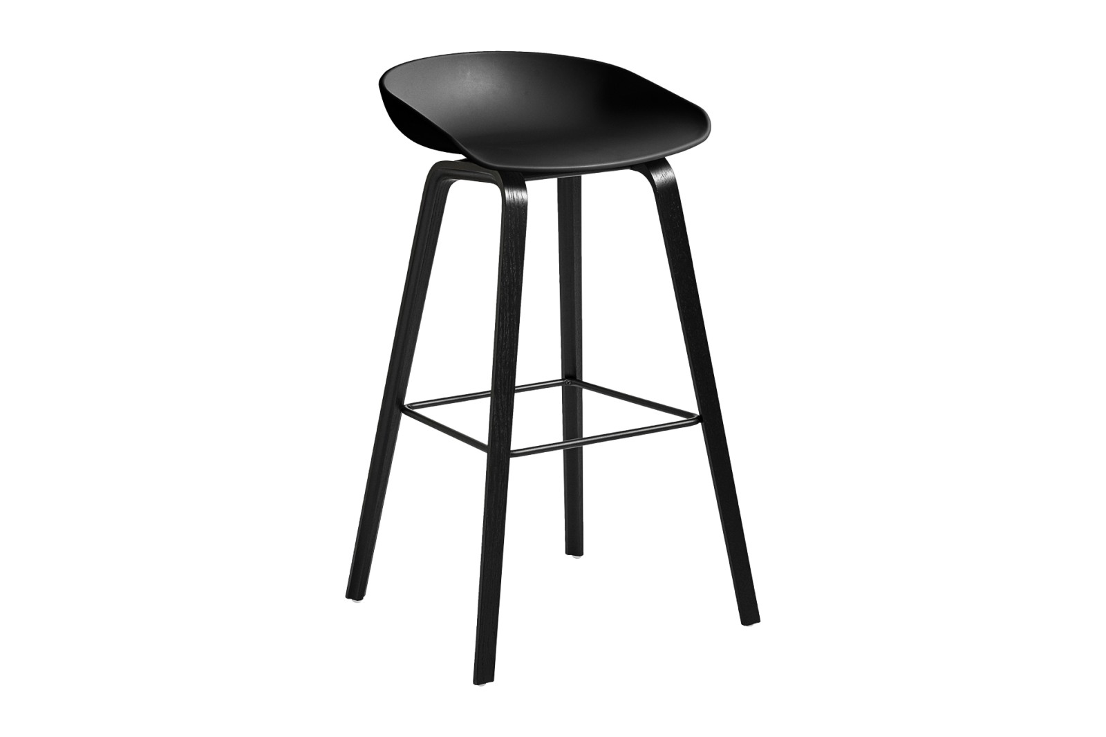 About A Stool AAS32 Black Stained Oak Base, Black Seat, High, Black Powder Coated Steel