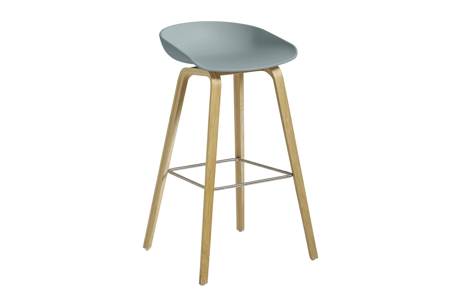 About A Stool AAS32 Clear Lacquered Oak Base, Dusty Blue Seat, High, Stainless Steel