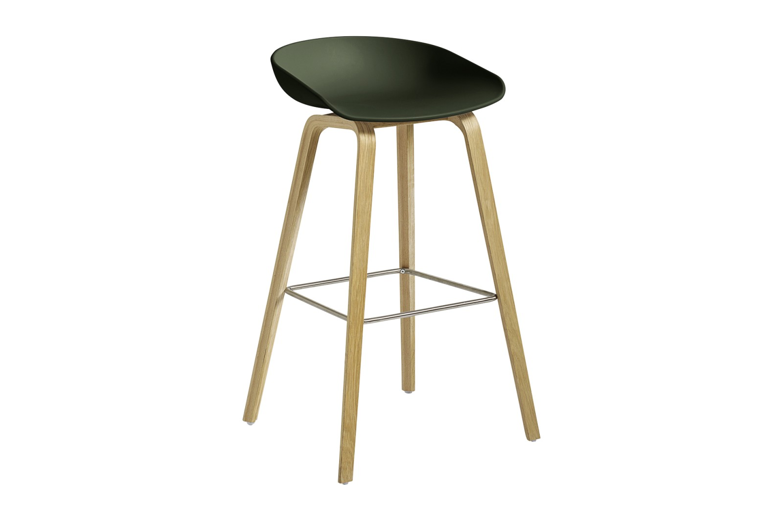 About A Stool AAS32 Clear Lacquered Oak Base, Green Seat, High, Stainless Steel
