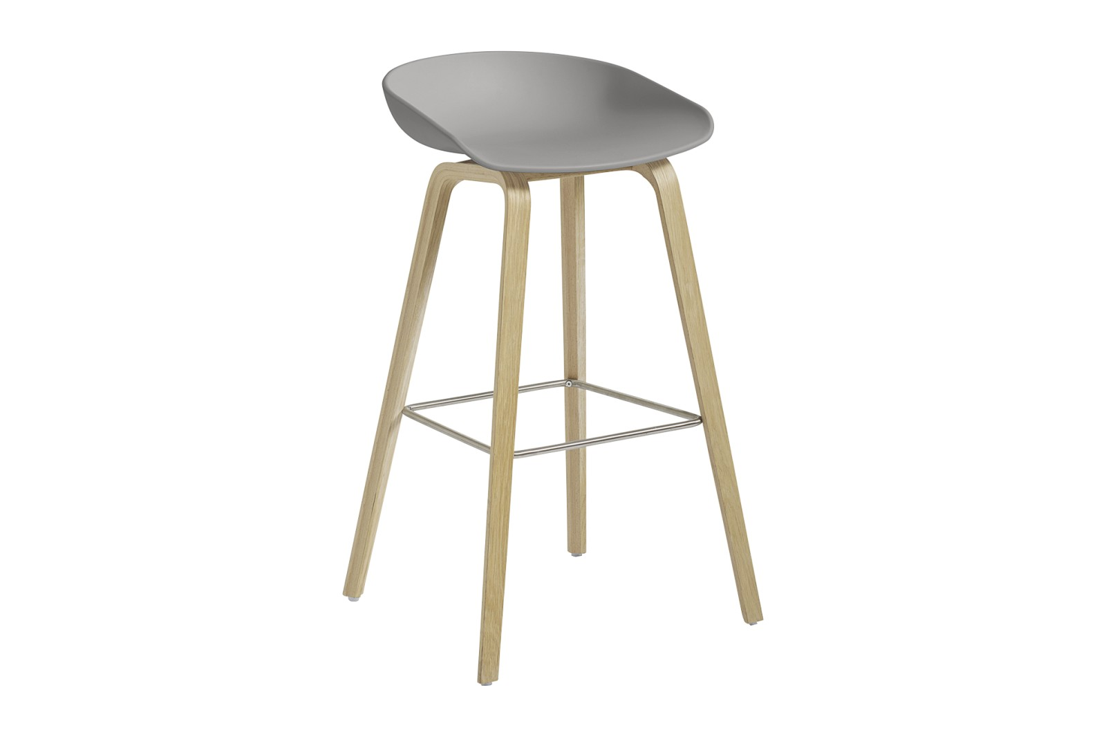 About A Stool AAS32 Matt Lacquered Oak Base, Concrete Grey Seat, High, Stainless Steel