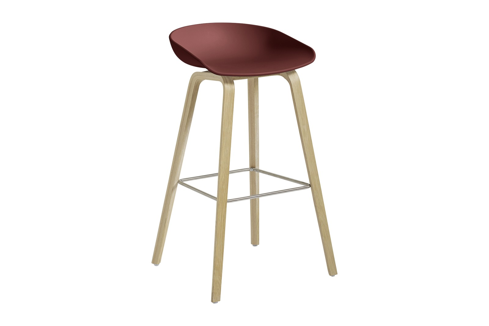 About A Stool AAS32 Matt Lacquered Oak Base, Brick Seat, High, Stainless Steel