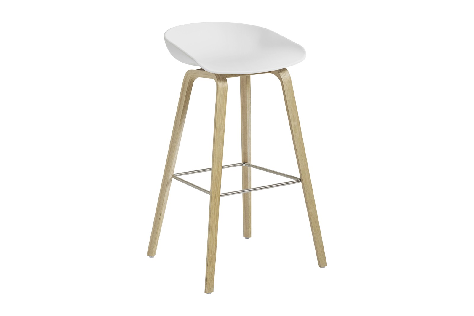 About A Stool AAS32 Matt Lacquered Oak Base, White Seat, High, Stainless Steel