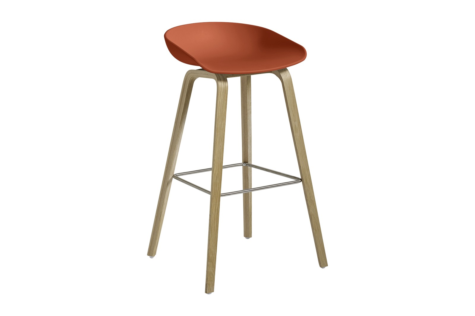 About A Stool AAS32 Soap Treated Oak Base, Orange Seat, High, Stainless Steel