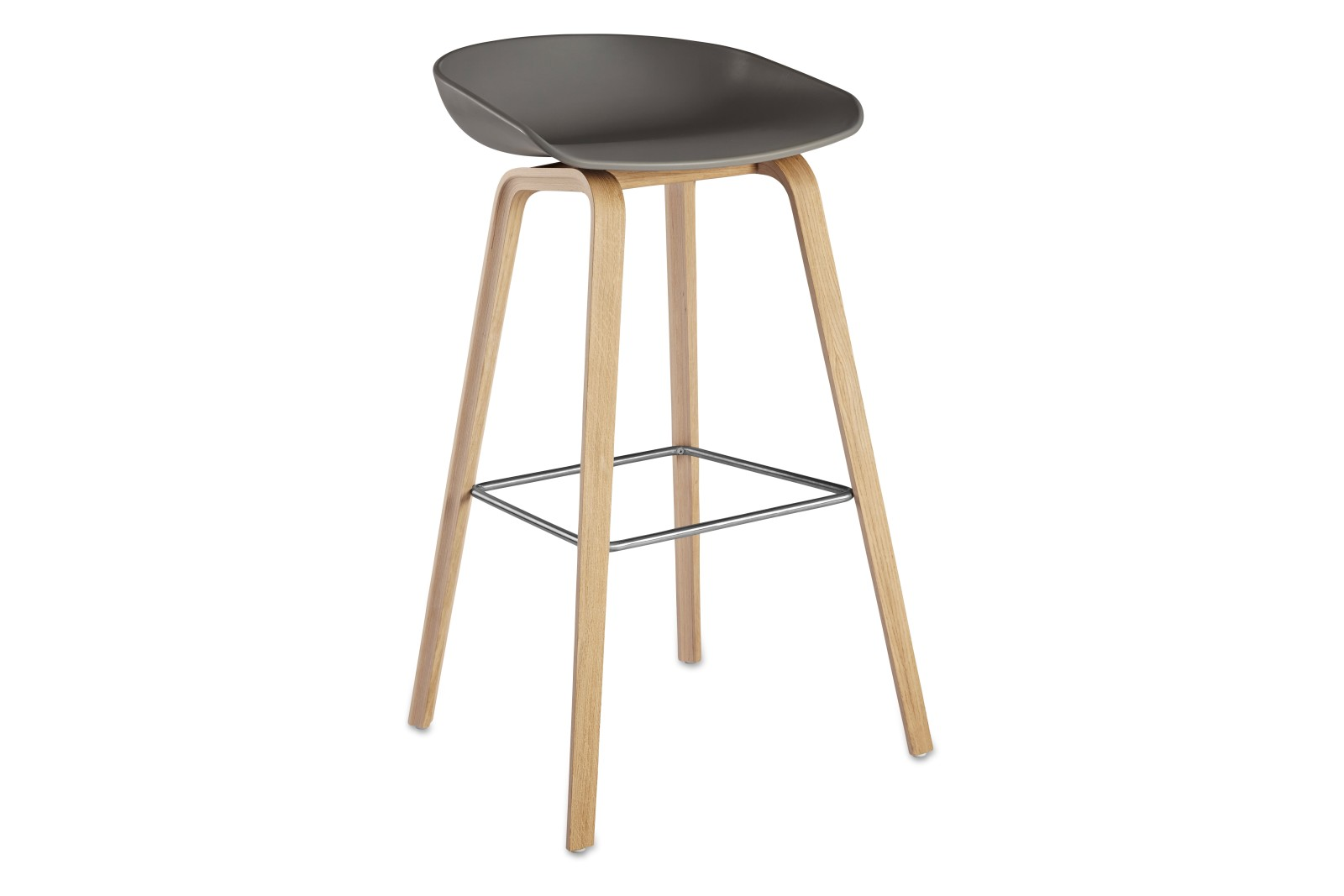 About A Stool AAS32 Clear Lacquered Oak Base, Grey Seat, High, Black Powder Coated Steel