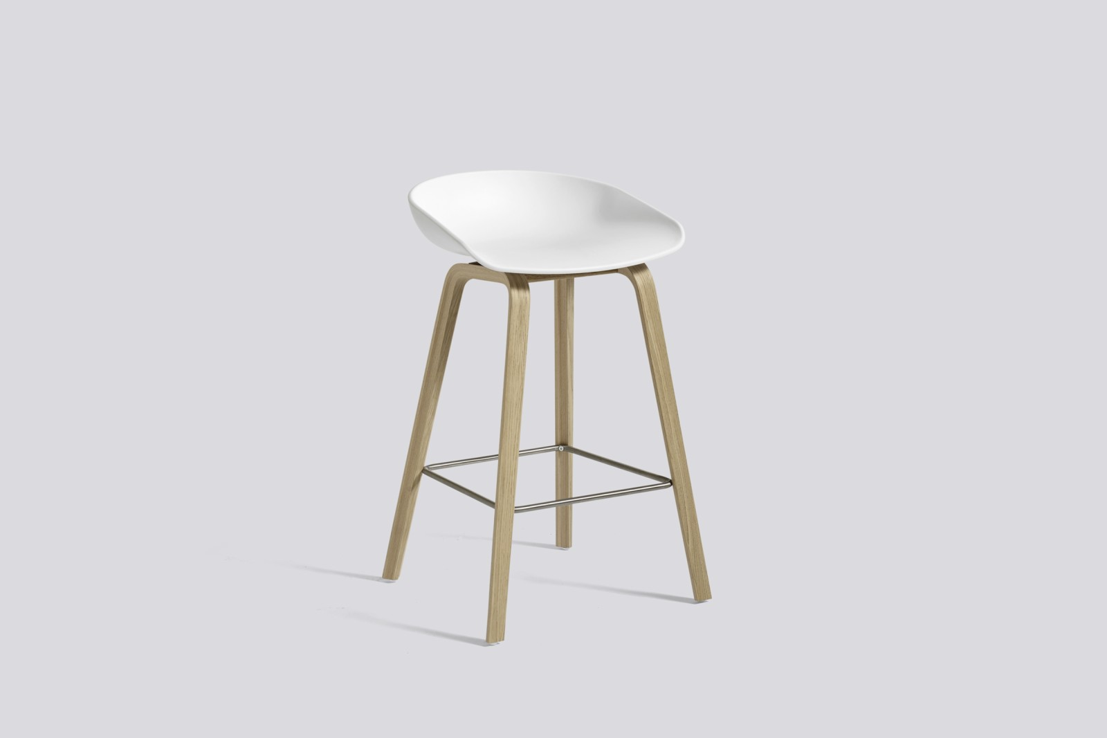 About A Stool AAS32 Matt Lacquered Oak Base, White Seat, Low