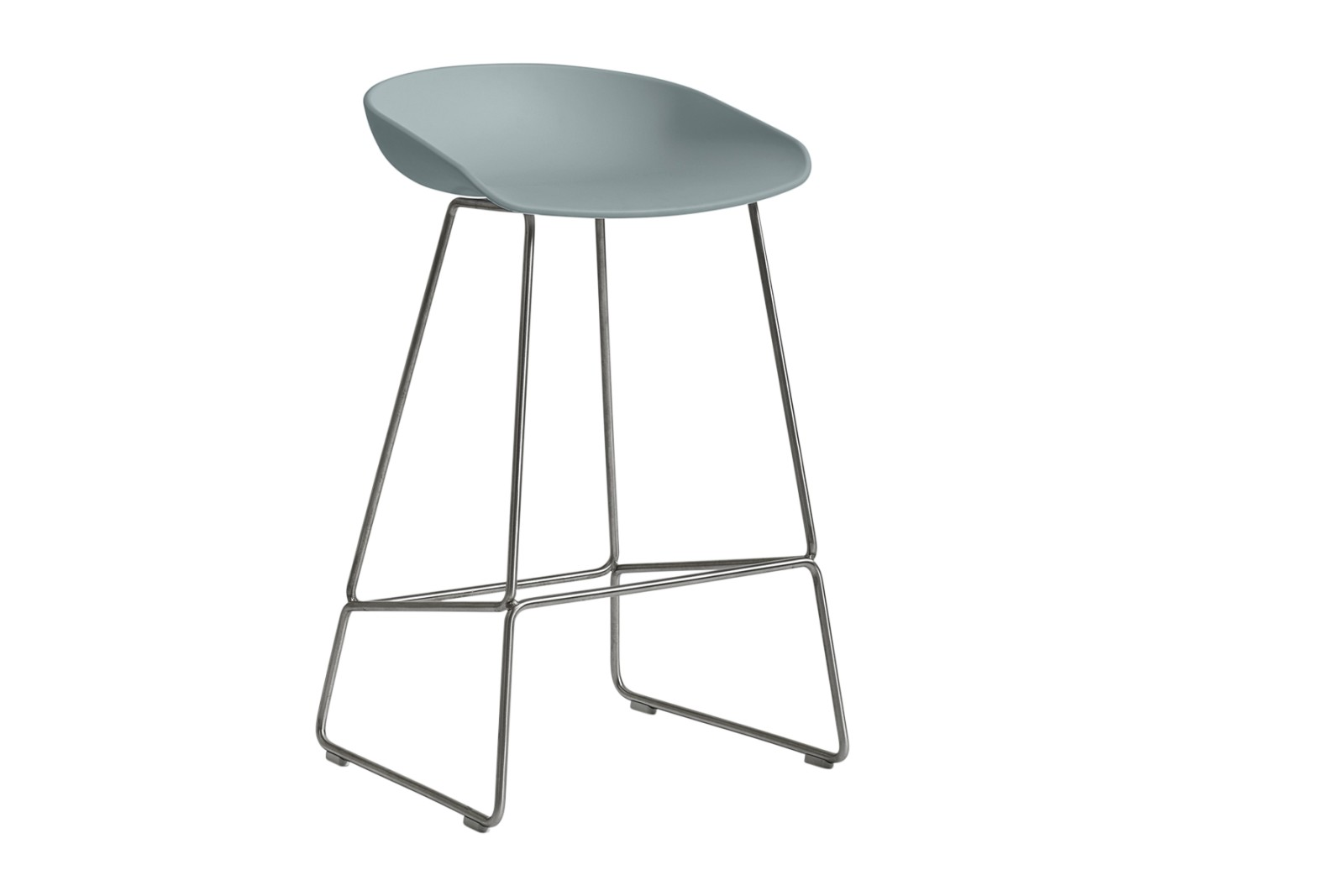 About A Stool AAS38 Dusty Blue Seat and Stainless Steel Base, Low