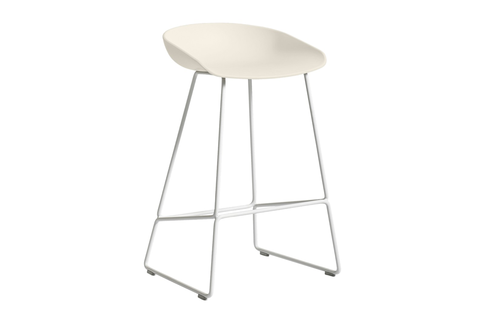 About A Stool AAS38 Cream White Seat and White Base, Low