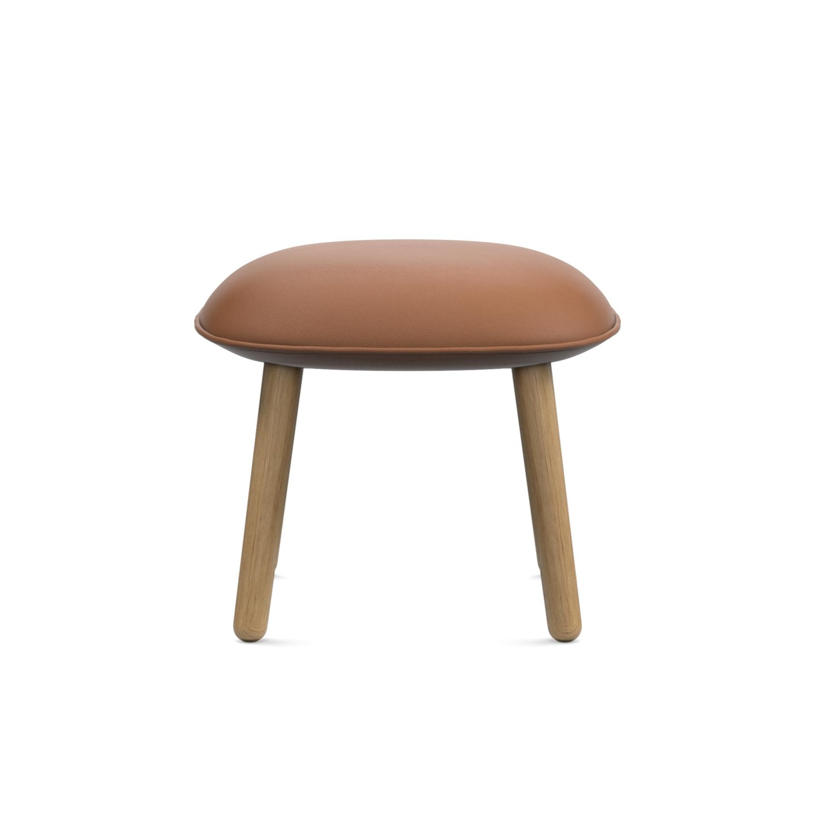 Ace Footstool S0rensen Ultra Leather Brandy - 41574, Lacquered Oak