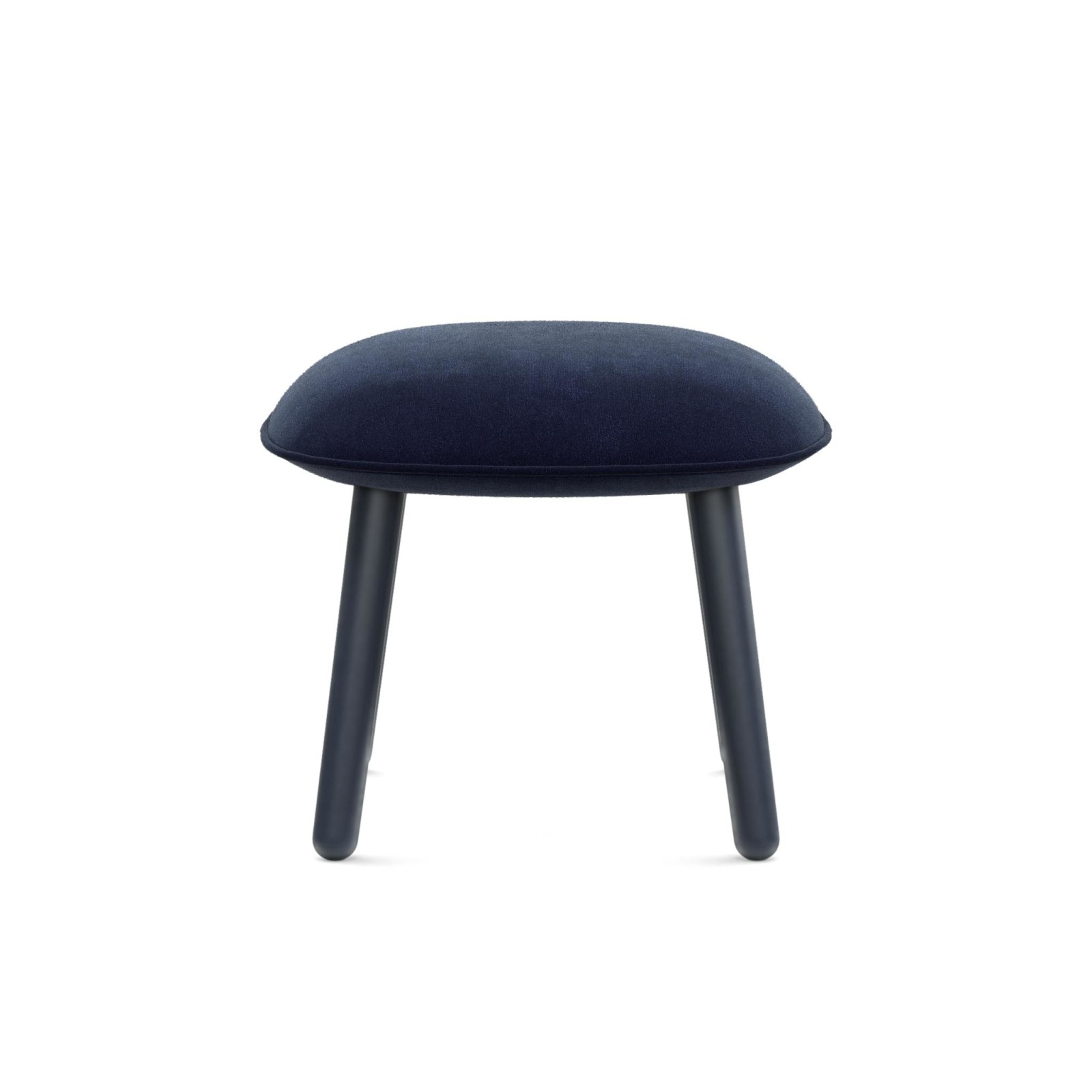 Ace Footstool Velour Dark Blue, Stained Beech