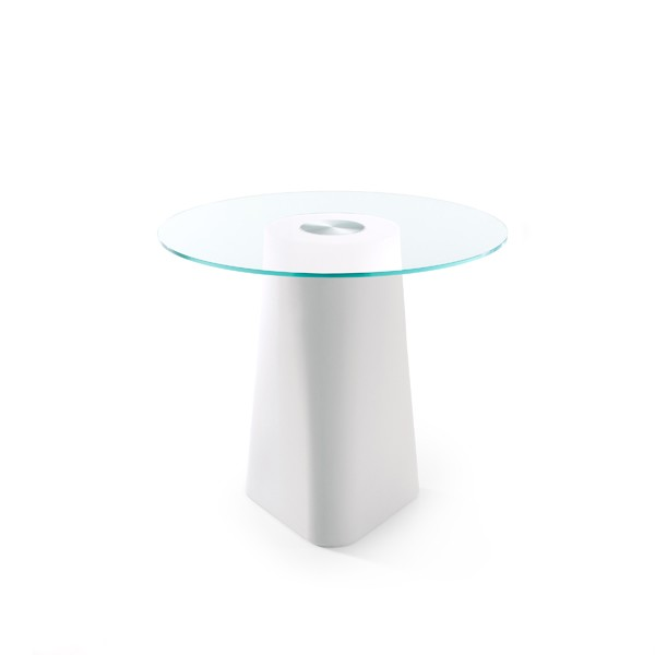 Adam Dining Table White, Clear Crystal Glass