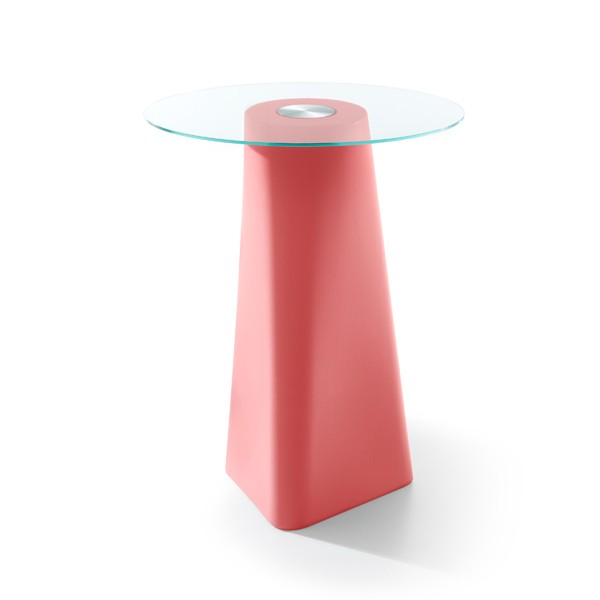 Adam High Table Coral Red, Clear Crystal Glass