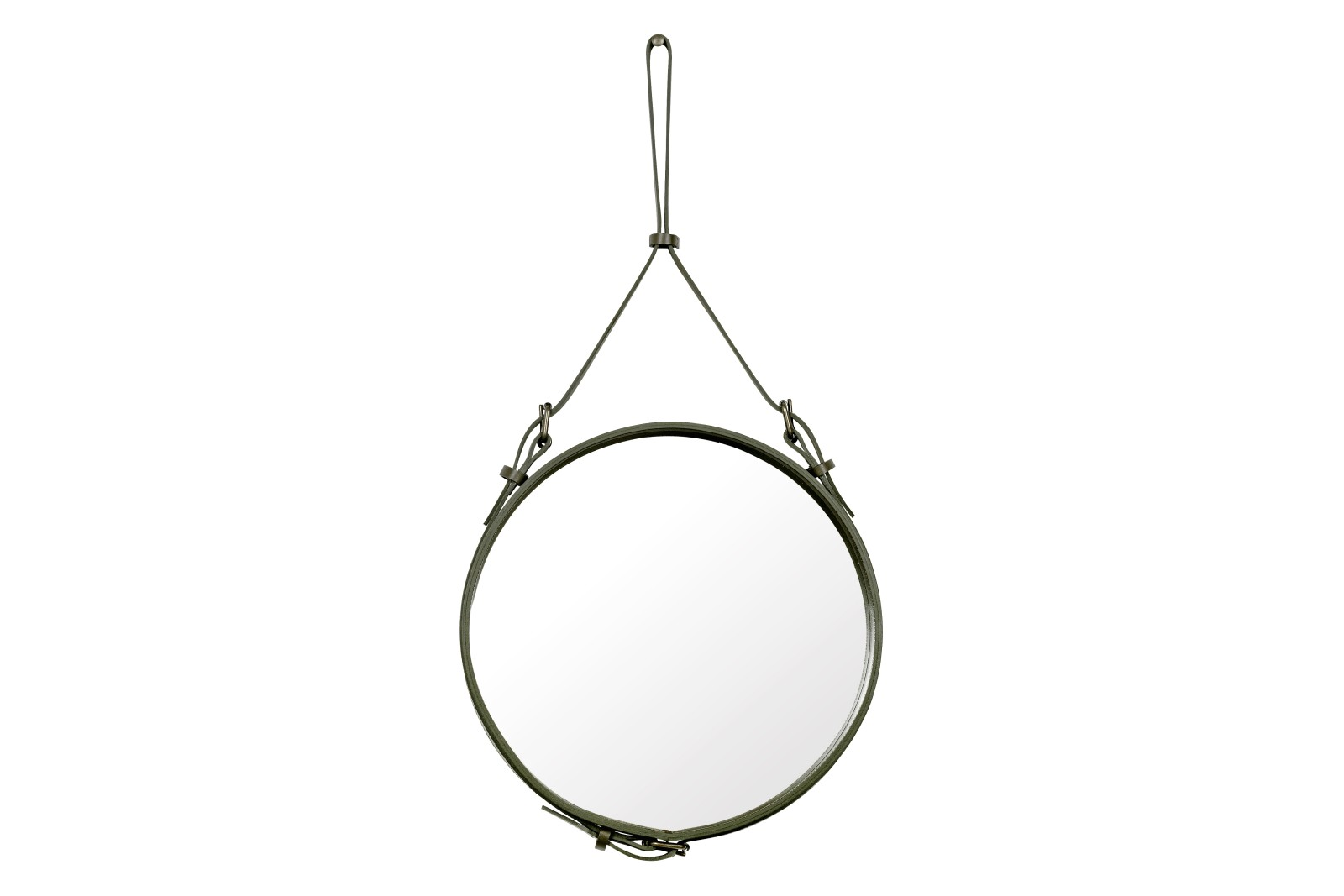 Adnet Circular Mirror Gubi Leather Olive, Small