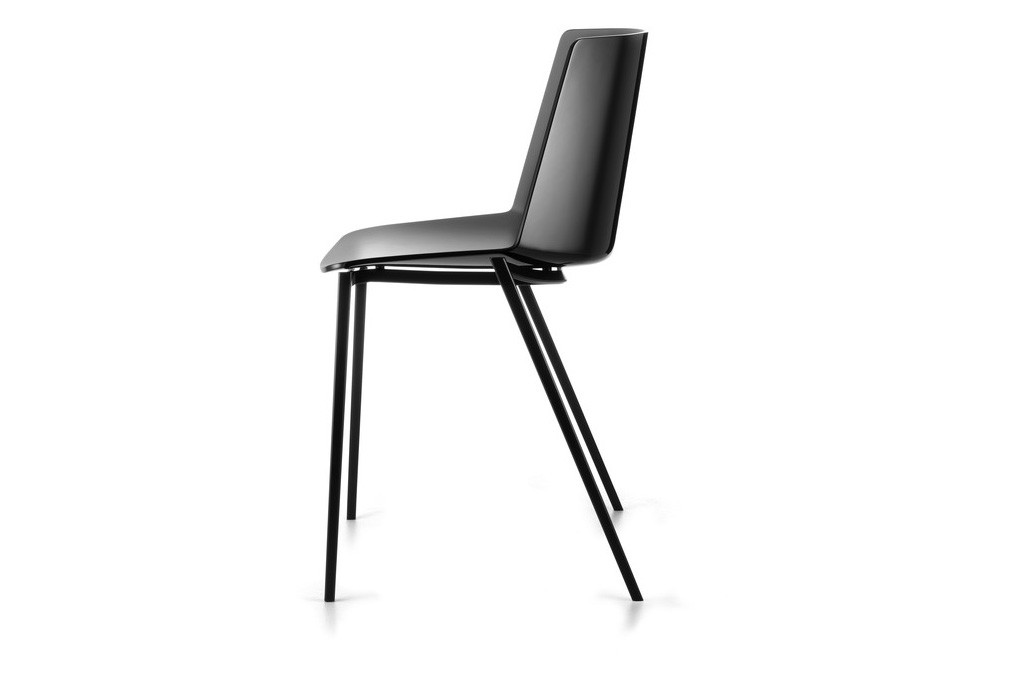 Aiku Chair, 4 Legs Tapered Base, Gloss Black Dark Grey, Graphite Grey