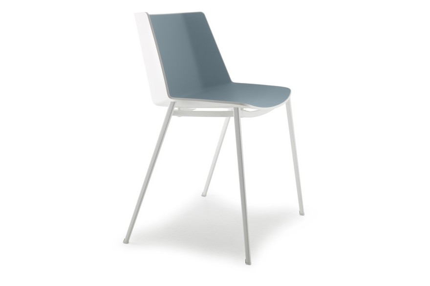 Aiku Chair, 4 Legs Tapered Base Gloss White / Olive Green, White
