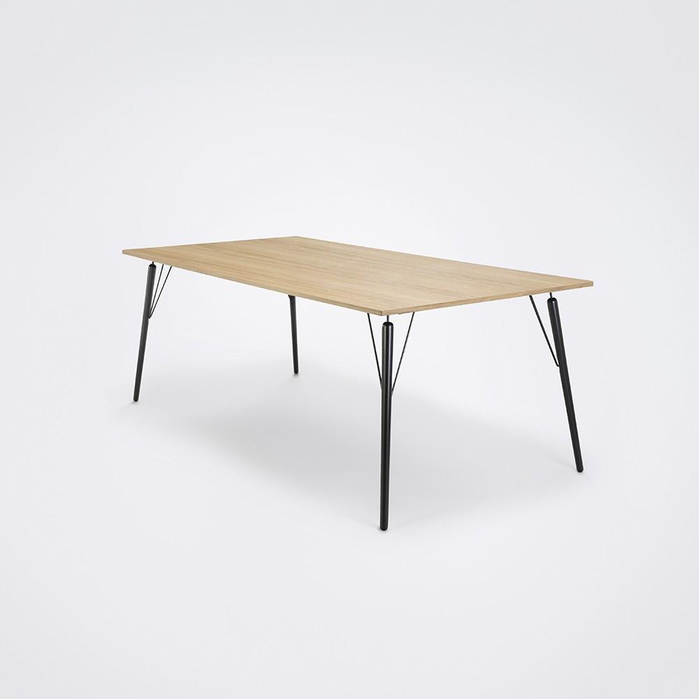 Air Dining Table Oiled Oak Veneer, Black Stained Solid Oak, 205cm