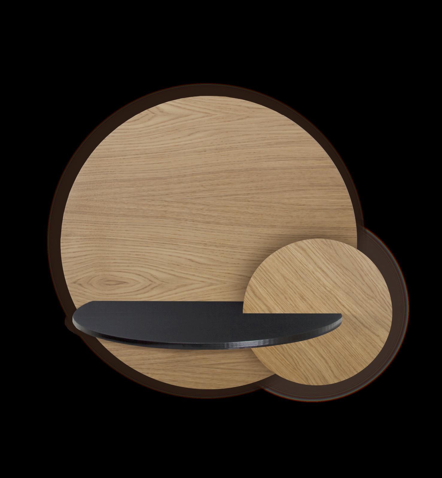 ALBA L - Round. Modular bedside shelf. Storage. Customizable. ALBA L, Oak Round, Black cover and cir