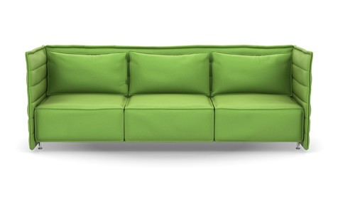 Alcove Plume Contract Three-Seater Laser 55 grass green, 01 chrome