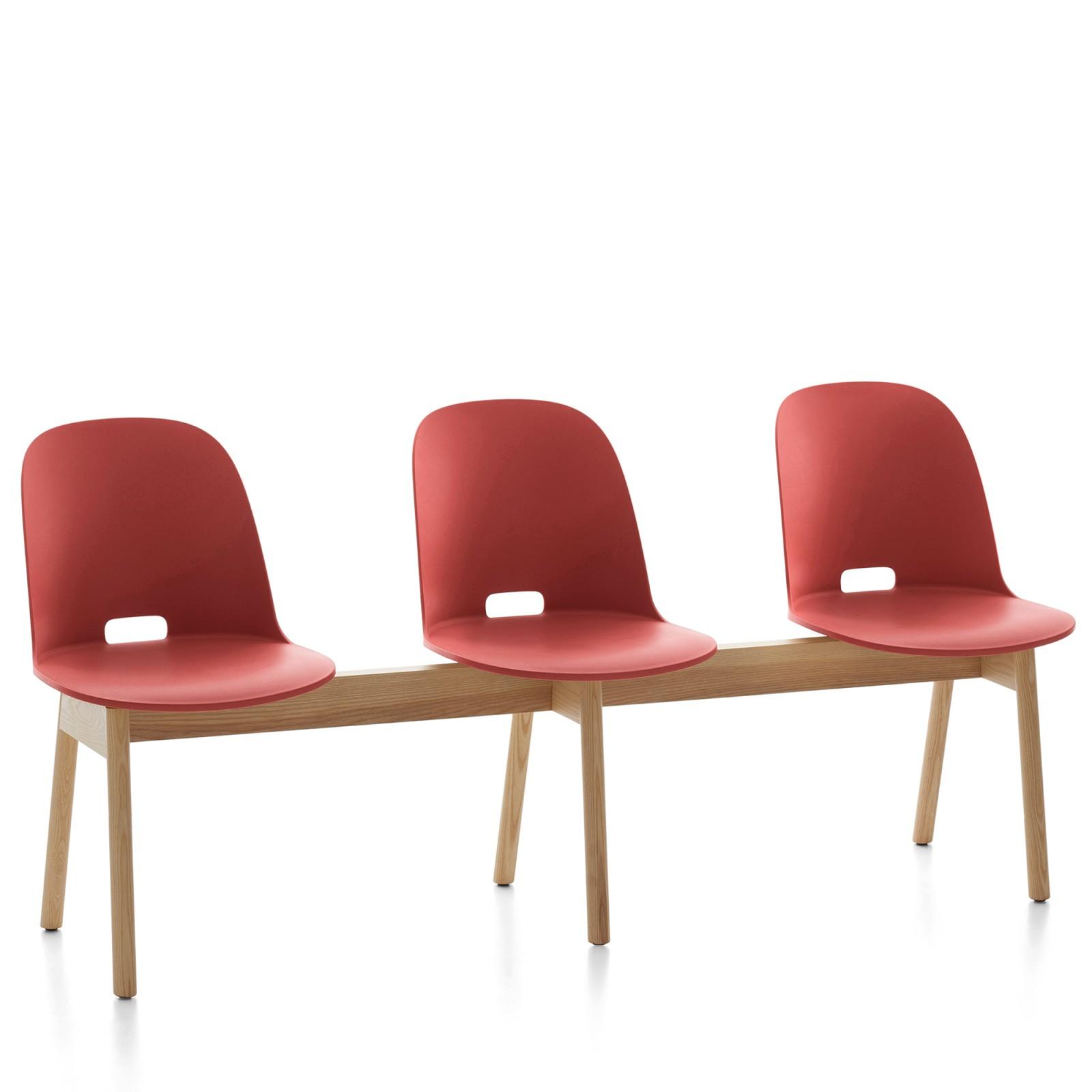 Alfi 3 Seater Bench, High Back Red, Natural Light Ash Frame