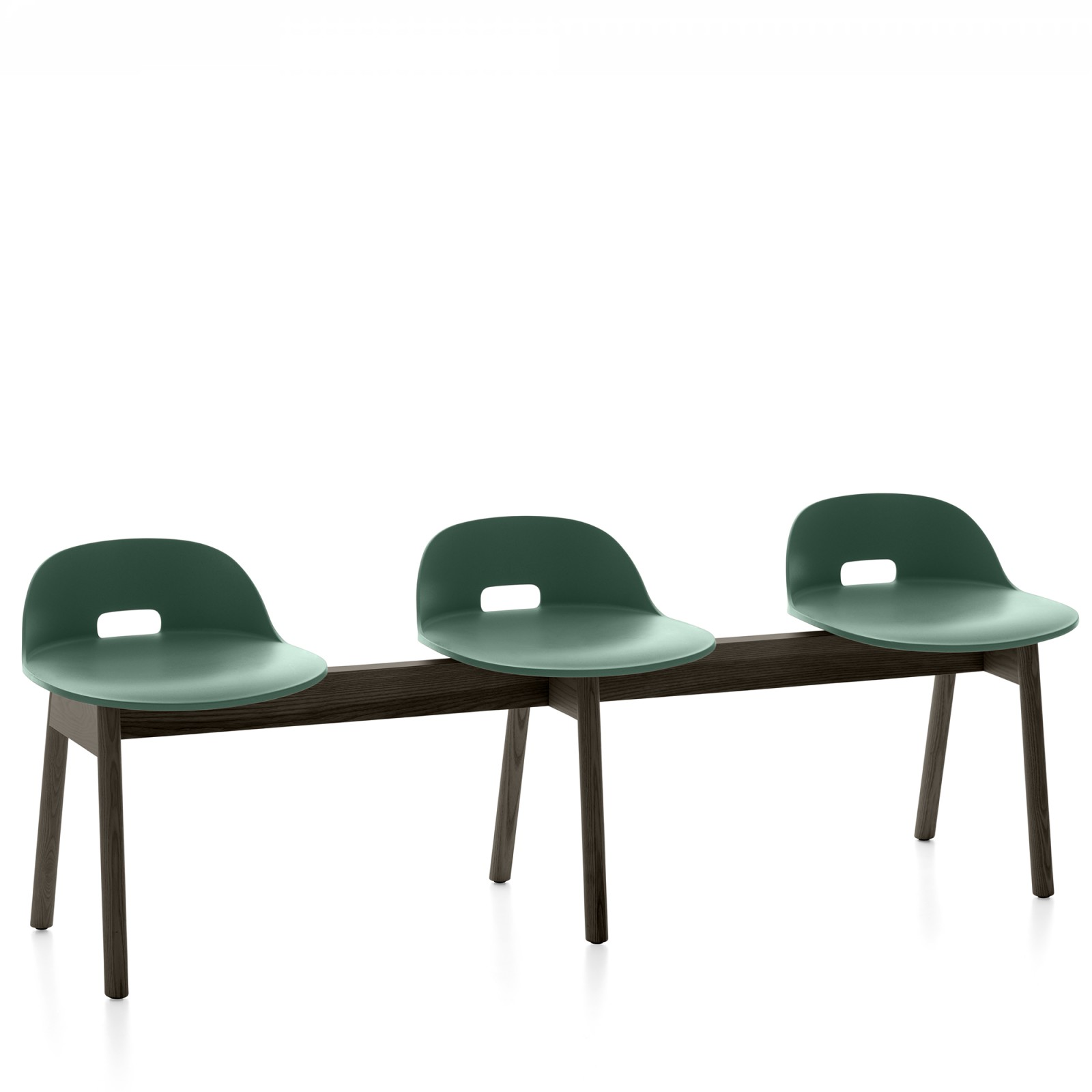 Alfi 3 Seater Bench, Low Back Green, Dark Stained Ash Frame