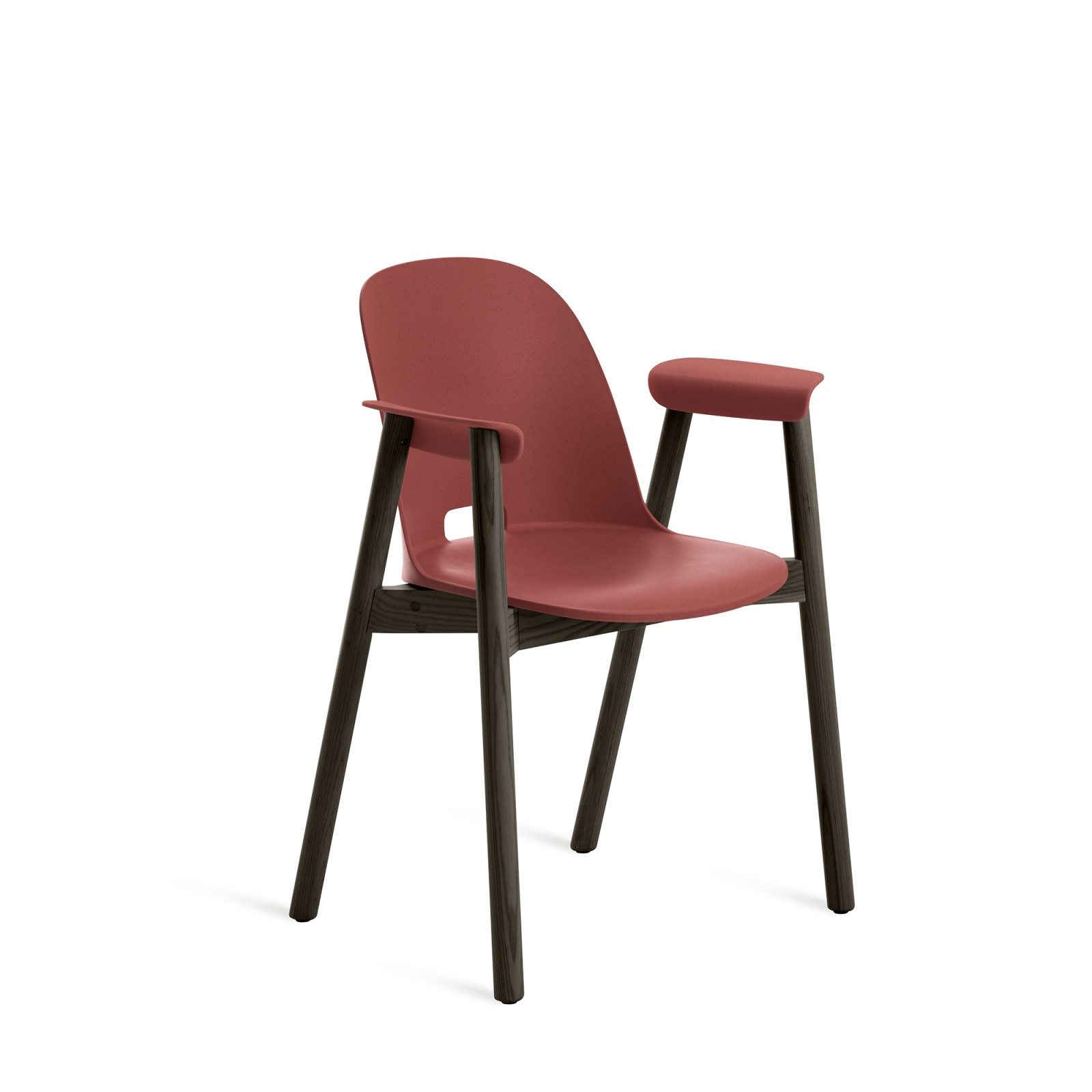 Alfi Armchair, High Back Red, Dark Stained Ash Frame